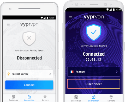 Two Android devices with connection to best VPN for Android, VyprVPN
